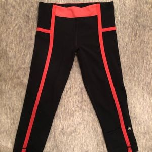 Lululemon Pink and Black Crop Leggings